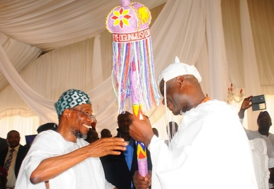Aregbesola gives Ooni his stool of office