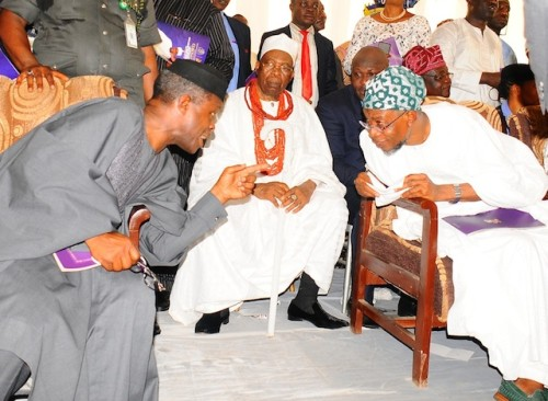 Aregbesola in a discussion with Osinbajo