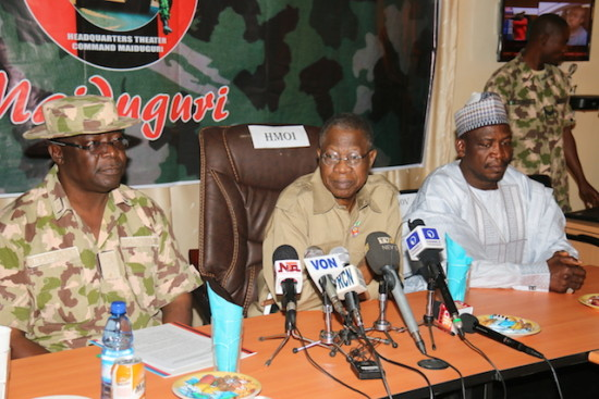 Minister of Information and Culture Alh. Lai Mohammed flanked by the Deputy Governor of Borno State, Alh. Usman Durkwa and the Theatre Commander, Operation Lafiya Dole, Maj. Gen.  Y. M. Abubakar during a press conference at  Operation Lafiya Dole Media Centre in Maiduguri