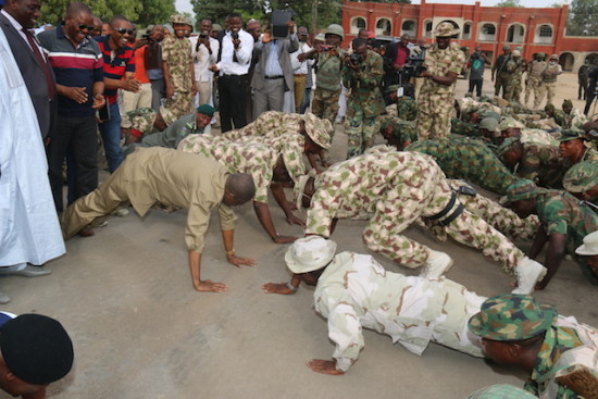 Lai Mohammed in a push-up with the military in Bama
