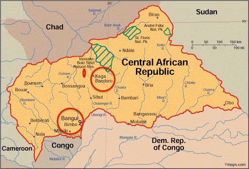 Map of Central African Republic, showing the rebel enclave in red