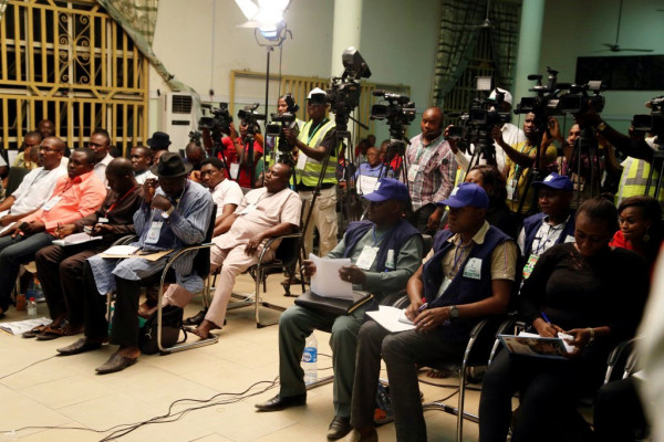 Journalists at the collation centre in Yenagoa