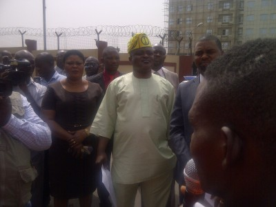 Obasa with some lawmakers attending to the protesters