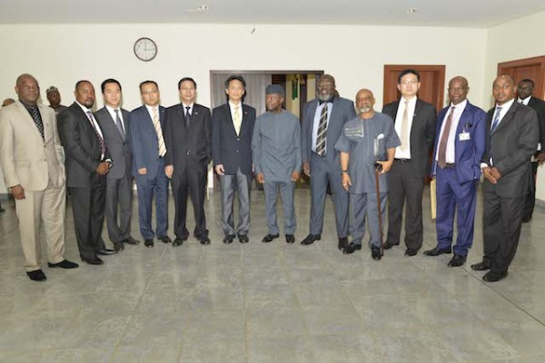 VP Osinbajo with Huawei officials
