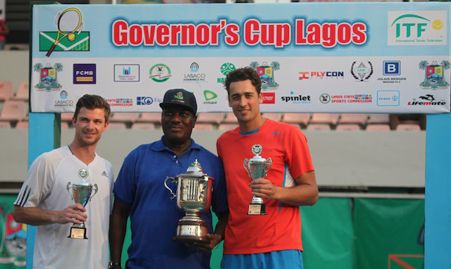 President Lagos Lawn Tennis Club, Rotimi Edu with the winners of men's double, Harris Llyod (South Africa) and Karim-Mohammed Maamoun (Egypt),