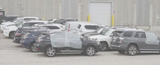 Some of the recovered SUVs from the West African gang