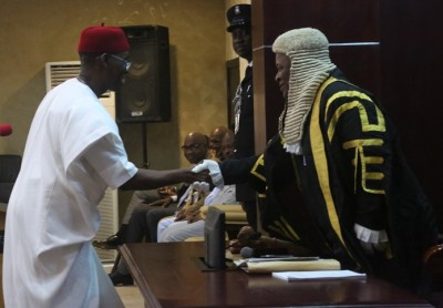 Governor Okowa (left) in warm handshake with the Speaker, Delta State House of Assembly, Monday Igbuya