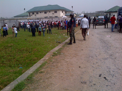 Security operatives at the entrance to INEC office
