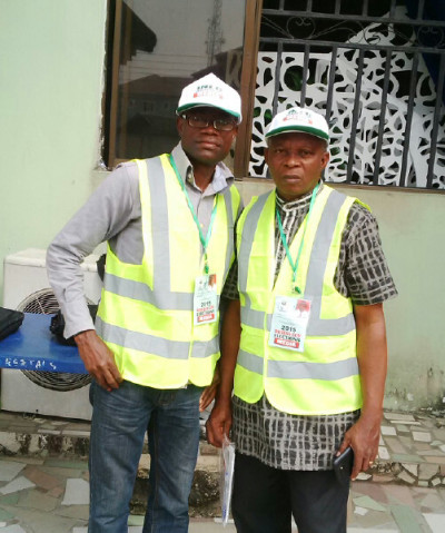 TheNEWS crew, Jethro Ibileke and Okafor Ofiebor, accredited, kitted and ready to monitor the election.