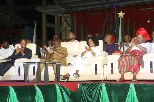 L-R, Former Rivers State Governor, Sir Celestine Omehia,  Rivers State Governor, Nyesom Ezenwo Wike,  his wife, Justice Suzzette Nyesom-Wike and the Deputy Governor, Dr Ipalibo Harry Banigo at the  First Rivers State Christmas Carol in Port Harcourt on Saturday.