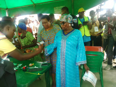 Mother of former President Jonathan also cast her vote