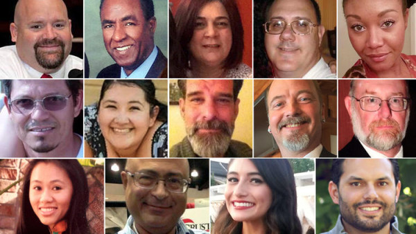 A composite photo of all 14 victims from the San Bernardino shooting rampage. They are top row left: Robert Adams, Isaac Amanios, Bennetta Betbadal, Harry Bowman and Sierra Clayborn. Second row from left: Juan Espinoza, Aurora Godoy, Shannon Johnson, Larry Daniel Kaufman and Damian Meins. Bottom row from left: Tin Nguyen, Nicholas Thalasinos, Yvette Velasco and Michael Wetze