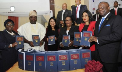 L-R: Governor Akinwunmi Ambode (2nd left); his Deputy, Dr. (Mrs.) Oluranti Adebule; Managing Director, Thomson Reuters Africa, Sneha Shah; the State Chief Judge, Justice Olufunmilayo Atilade; Chairman, House Committee on Judicial Commission,  Olufumilayo Tejuosho and Attorney General and Commissioner for Justice, Mr. Adeniji Kazeem, during the launching of the Lagos State Laws at the Adeyemi Bero Auditorium, Alausa, Ikeja, on Tuesday, December 08, 2015.