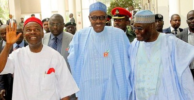 """Minister of Science and Technology Dr Ogunnaya Onu, President Muhammadu Buhari and former Vice President Atiku Abubakar on arrival at Yar'Adua Center for the public presentation of the book """"From Opposition to Governing Party: Nigeria's APC Merger Story"""" written by Onu in Abuja on Monday, 07-12-2015"""