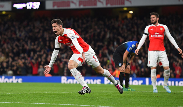 Paulista overjoyed after nodding Arsenal ahead in the 17th minute