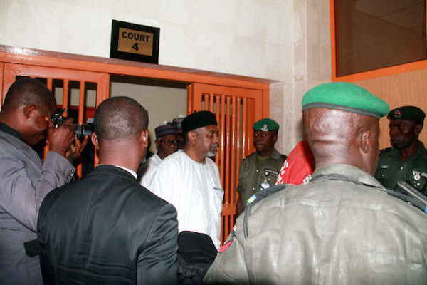Dasuki arriving Court 4 of the Federal High Court Abuja