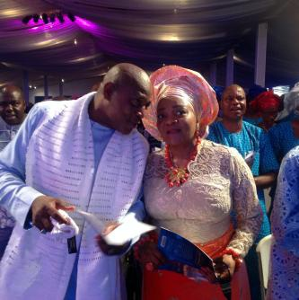 Keshi and his wife at their daughter's wedding in Lagos in 2014