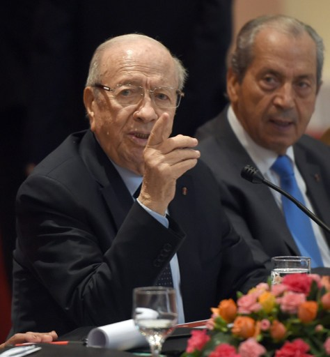 President Beji Caid Essebsi (L): defections hit party