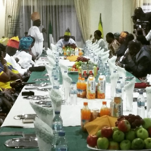 Amosun at a breakfast birthday celebration with his aides and commissioners