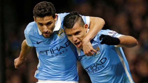 Sergio Aguero, right, completed night of magic with a header