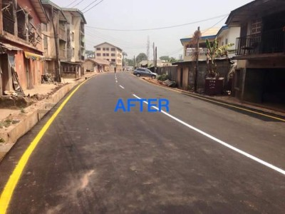 The same street now, fixed by the Ikpeazu government