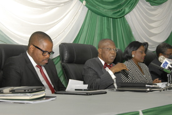 Alhaji Lai Mohammed(middle) addresses bureau chiefs of newspapers