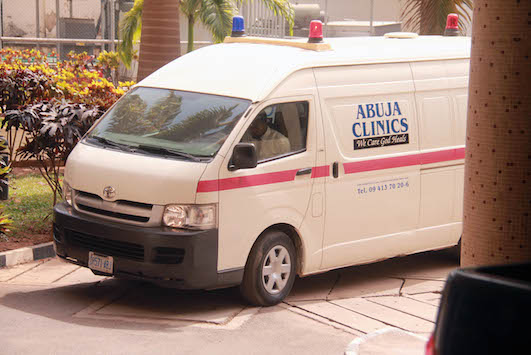 The ambulance that brought Haliru Mohammd Bello to court today