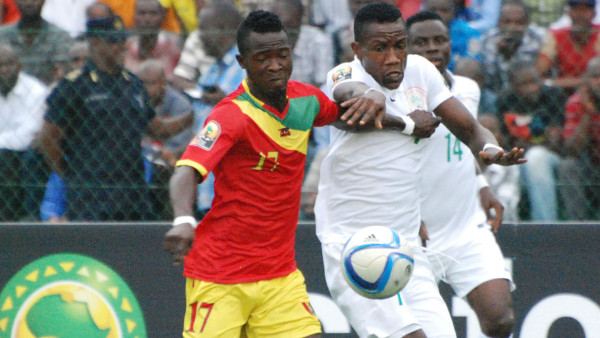 Super Eagles fight for the ball