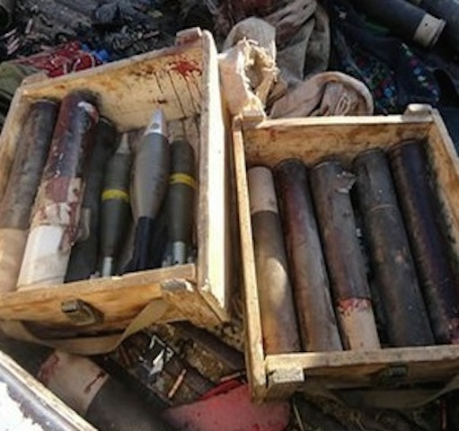 Seized boko haram weapons
