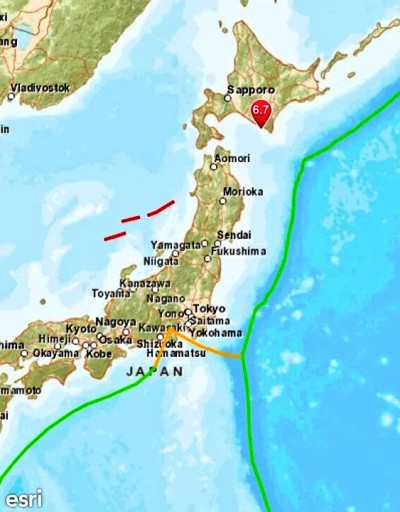 Japan. Affected area marked red