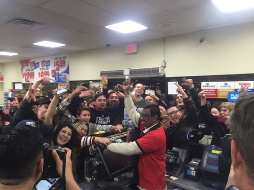 Crowd at a 7 Eleven store in Chino Hills, California where a winning ticket was sold