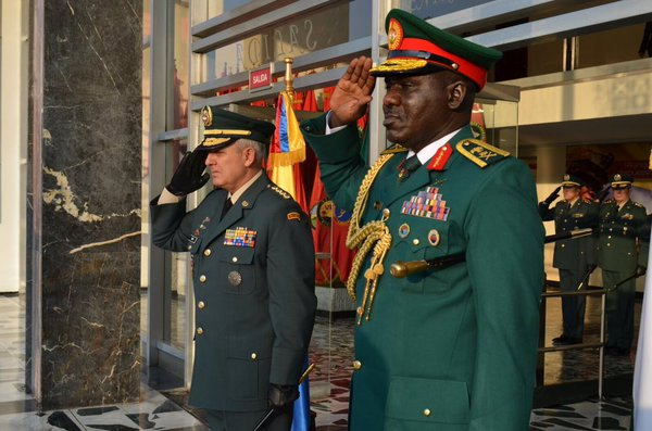 Buratai, left with Colombia's army chief