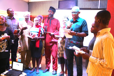 Cross section of writers reading at the event
