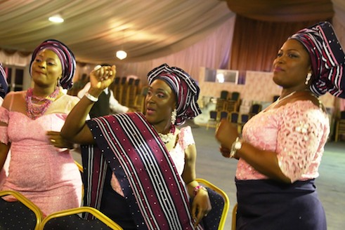 Sisters of the groom, R-L, Mrs Bola Niyi, Mrs Adenike Ajayi and another guest Folake Anjorin