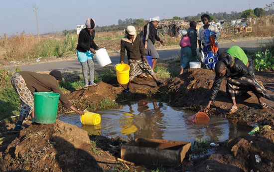 Harare residents desperate to fetch just any water