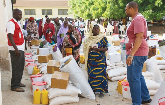 Gift items being given to an IDP camp in Yola