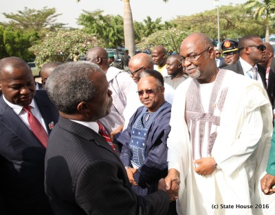 Vice President Yemi Osinbajo, being welcomed to the event by Permanent Secretary Ministry of Defence, Amb. Danjuma Sheni