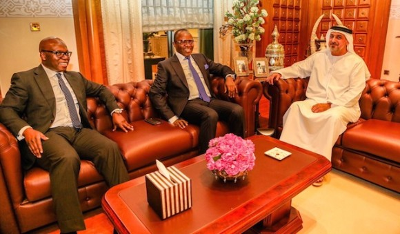 Wale Tinubu, CEO of Oando Plc. Dr. Ibe Kachikwu, Nigeria's oil minister, and His Highness, Dr. Sheikh Sultan Bin Khalifa, (right)