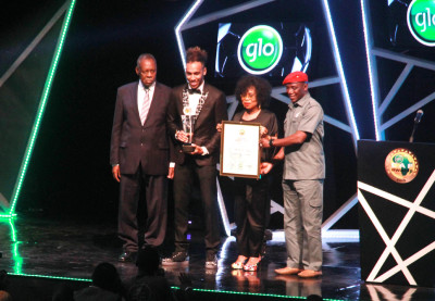 L-R- Dr Issa Hayatou CAF and FIFA President, Pierre Emerick Aubameyang African Player of the Year with other presenting the Awards