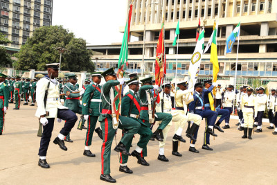 March past by the military at the Parade Ground of TBS, Lagos