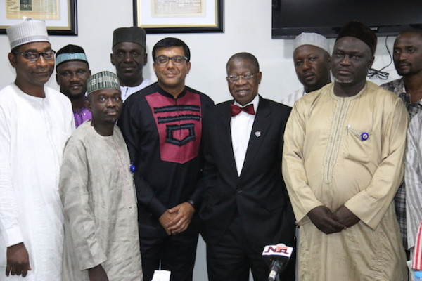 Mohammed with the Trust Newspaper executives, publishers of Aminiya