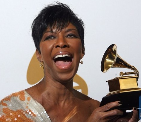 Natalie Cole with one of her nine Grammy awards