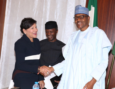 R-L: President Muhammadu Buhari, Vice President Yemi Osinbajo and the US Secretary of Commerce, Penny Pritzker during their meeting at the State House in Abuja. Photo; Sunday Aghaeze. Jan 26 2016.