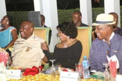 L-R: Governor Wike, his wife Justice Suzzette and Acting National Chairman of PDP, Prince Uche Secondus at the Rivers State New Year Banquet hosted by the Governor on Friday night