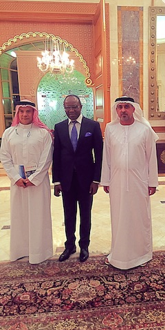 'Sheikh' Ibe Kachikwu, Nigeria's oil minister, with His Highness, Dr. Sheikh Sultan Bin Khalifa, (right)and the Advisor to the President of UAE, Zayed Al Nahyan in a sideline group photograph after the Gulf Intelligence UAE Energy Forum of 2016.