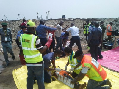 Emergency workers at work durin the exercise