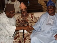 From left: Newly promoted Otun Olubadan; Dr. Lekan Balogun; President, Ibadan Elders' Forum, Ambassador Olusola Sanu; and Oyo State Governor, Abiola Ajimobi, during a truce meeting brokered by the IEF over the Olubadan chieftaincy promotion dispute, at Sanu's residence, in Ibadan...on Tuesday.