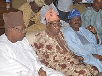 From left: Newly promoted Otun Olubadan of Ibadan land, Dr. Lekan Balogun; President, Ibadan Elders' Forum, Ambassador Olusola Sanu; Oyo State Governor, Abiola Ajimobi; and a former President, Central Council of Ibadan Indigenes, Chief Yusuf Akande,  during a truce meeting brokered by the IEF over the Olubadan chieftaincy promotion dispute, at Sanu's residence, in Ibadan...on Tuesday.