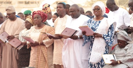 R-L: Mother of Lagos State Governor, Mrs. Christiana Oluleye Ambode; Wife of Lagos State Governor, Mrs. Bolanle Ambode; Lagos State Governor,Mr. Akinwunmi Ambode; General Overseer, Redeemed Christian Church of God (RCCG), Pastor Enoch Adeboye; his Wife, Pastor Mrs. Foluke and Deputy Governor, Dr. (Mrs.) Oluranti Adebule and her husband, Mr. Saheed Adebule, during the Y2016 Annual Thanksgiving Service at the Lagos House, Ikeja, on Sunday, 3 January, 2016.
