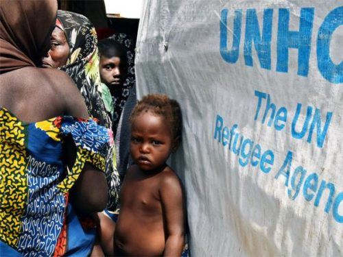 Some refugees from Boko Haram hit areas of Nigeria in a UN camp in Lake Chad area